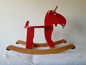 Holz Schaukelpferd (Elch) 73x29x52cm Ikea (EKORRE), Rot