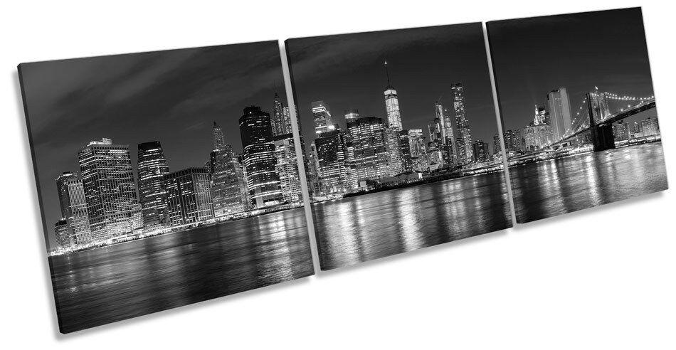 Ciudad de Nueva York Negro Y Blanco Lona Pared Caja Arte Impresión Marco de Caja Pared de triple f5dde6