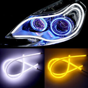 Details About 1pc 45cm Led Car Auto Drl Daytime Running Lamp Strip Light Flexible Blue Us