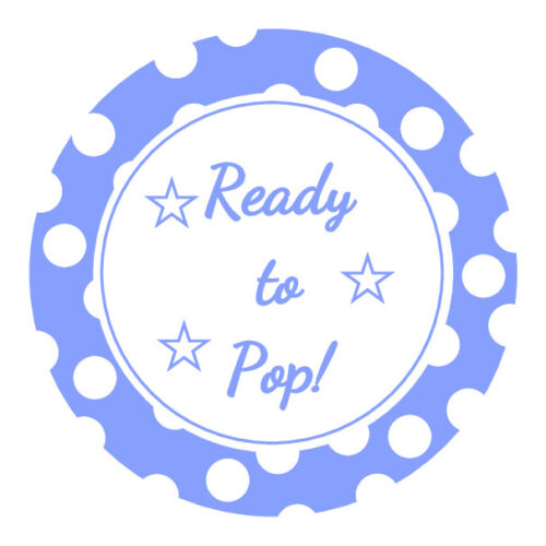 24 x Ready to Pop  Baby Shower Round Stickers Labels Party Cello Favors Seals