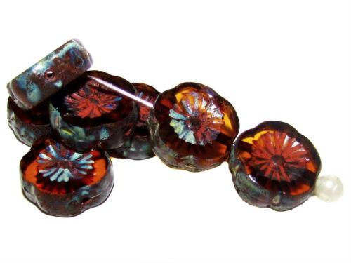 6pcs TABLE 12 mm Coupe Fleur Perles Czech glass Choisissez Couleur