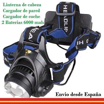 LINTERNA DE CABEZA ALTA CALIDAD + CARGADOR DE COCHE Y DE PARED+ BATERIAS 6000MAH