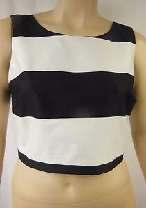 NEW-City-Chic-Black-White-Stripe-Sleeveless-Crop-Top-Plus-Size-XL-22-BNWT-P17