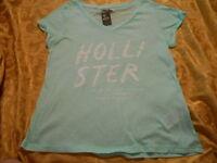 Hollister Women's T-shirt Size L Mint Color Logo Graphic