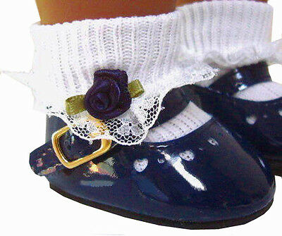 "JULY 4TH Navy Blue Patent Shoes for 18"" American Girl Doll Clothes"