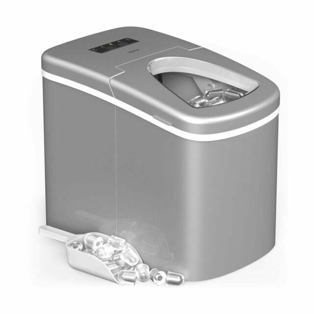 HEMBOR Portable Ice Maker Automatic Machine with Ice Scoop /& Bucket 9 Bullet Ice Ready in 6 Minutes Small//Large Cubes for Kitchen Bars Makes 26 lbs Ice in 24 hrs Parties and Camping Vacations