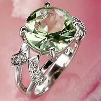 Fashion Green Amethyst & White Topaz Gems Silver  Ring Size 6 7 8 9 10 11 12 13