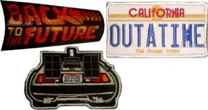 Set-Back-to-the-Future-Embroidered-Patches-Delorean-Licence-Plate-Crew-Logo