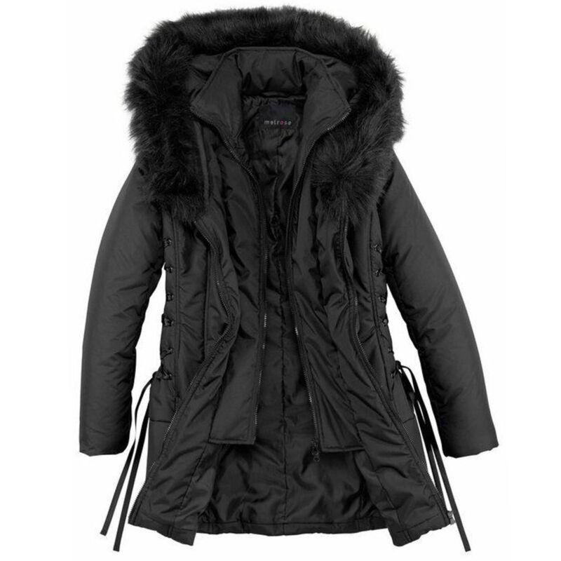Effizient Warm Winterjacke 2in1-optik Gr.36 S Jacke Parka Kurz-mantel Schwarz Kapuze