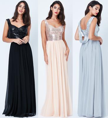 Stetig Goddiva Sequin Chiffon Cowl Back Maxi Evening Dress Prom Bridesmaid Formal Ball SchöN Und Charmant