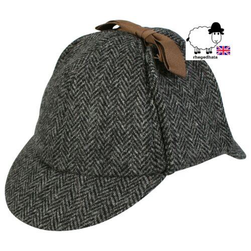 Qualité Harris Tweed Gris Deerstalker//Sherlock Holmes Hat Royaume-Uni Toutes les tailles.