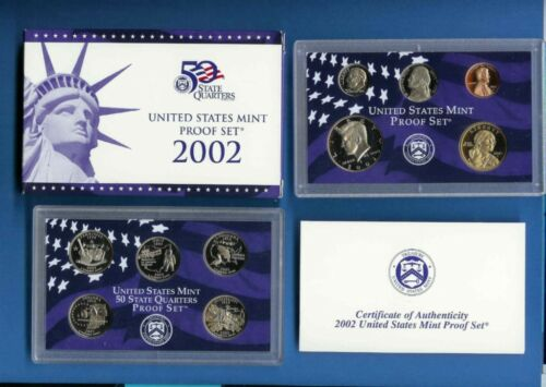 2002 Clad Proof Set 10 Coins Complete With Box//COA