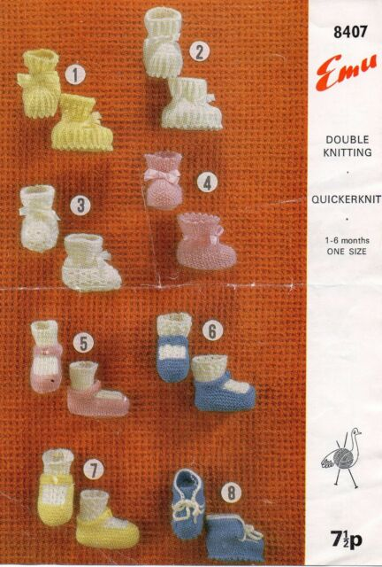 Emu 8407 Baby Bootees 1-6 months DK Vintage Knitting Pattern 8 styles Repro