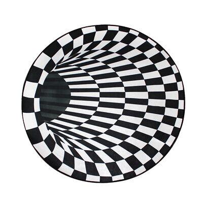 Round Black White Grid 3D Illusion Vortex Bottomless Hole Carpet Non-Slip Mat