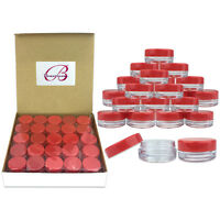 1000 Pieces 3 Gram/3ml Red Plastic Lip Balm Lotion Cream Sample Jar Containers
