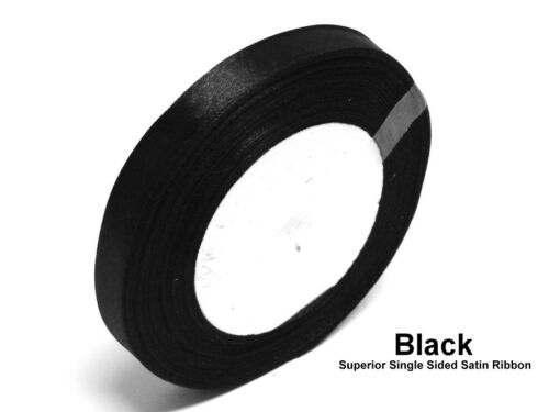 Black 6mm Satin Ribbon Single Sided Wedding Ribbon Crafts Trimming