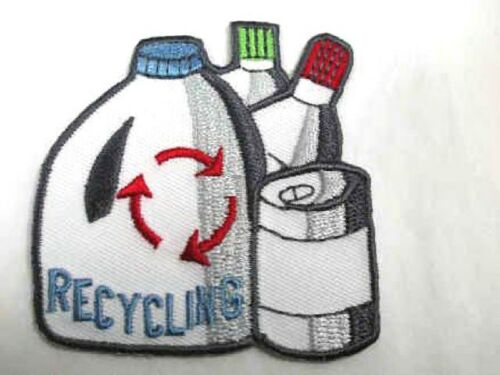 Recycle Can Bottle Embroidered Iron On Patch