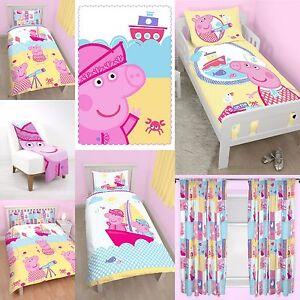 Nuevo-PEPPA-PIG-Nautico-Diseno-Dormitorio-Elegir-Una-o-mas-COLCHA-NINA