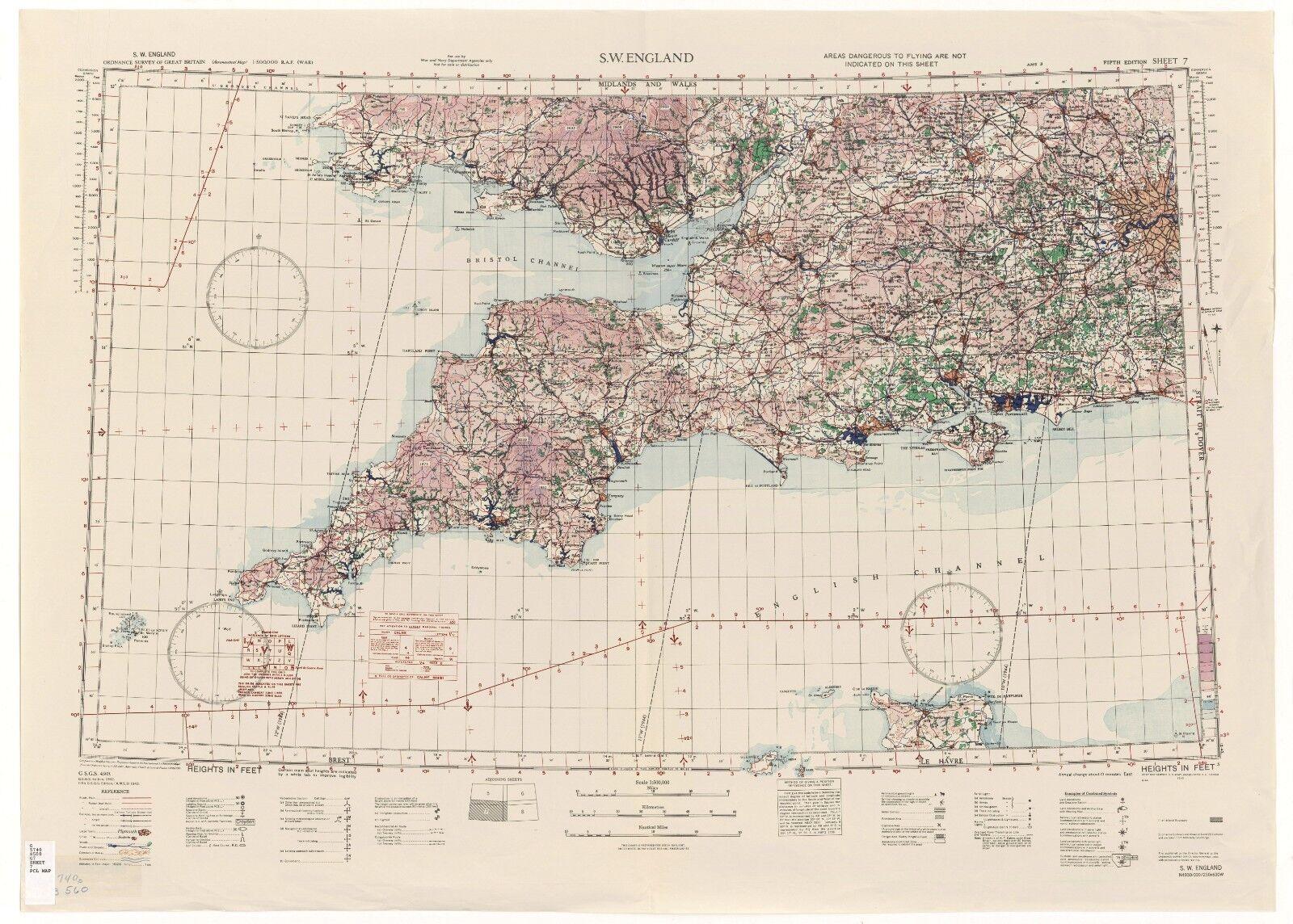 WW2 RAF MAP OF CORNWALL PRINT