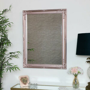 Details zu Rose gold pink wall mirror shabby chic living room hall salon  boutique display