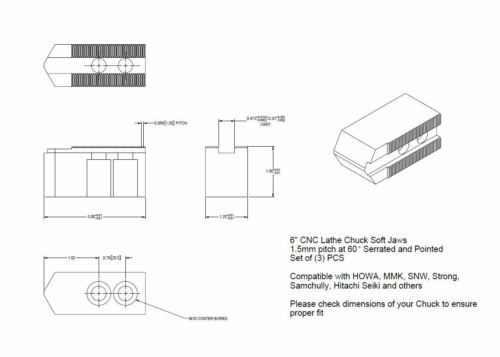 "6/"" Aluminum Soft Jaws 1.5mm x 60° Serrated for B-206 Type Lathe Chucks 1.5/"" HT"