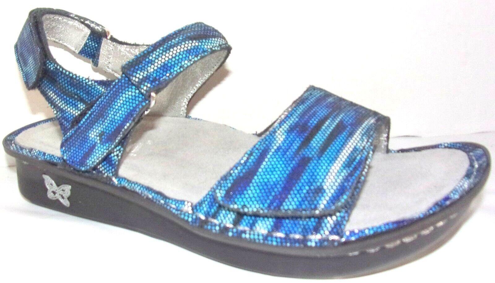 New Alegria Patti Wavy Navy Leather Comfort Slide Sandals M