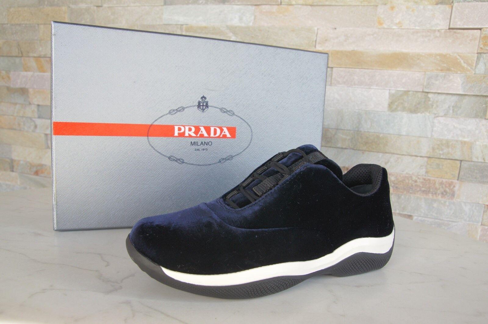PRADA N. 35 Sneaker NUOVO Slip-on Scarpe Velluto Blu 3e6205 NUOVO Sneaker UVP d33429