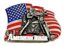 Biker Belt Buckle American Flag Motorcycle Bike Live To Ride Authentic Siskiyou