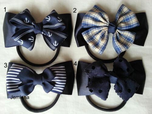 Jemlana/'s handmade Navy hair ties for girls. 4 types to choose