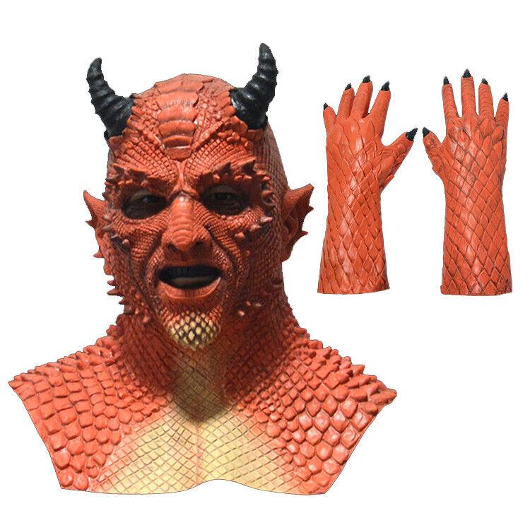 Cosplay Diablo Belial The Demon Mask Glove Devil Halloween Latex Helmet Costume