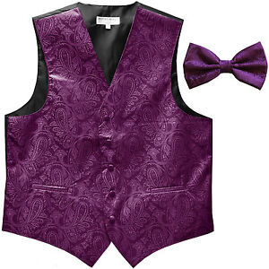 New formal men's tuxedo waistcoast vest_bowtie Purple Paisley wedding party