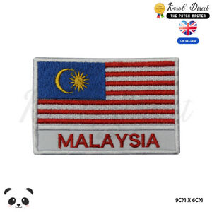 Malaysia-National-Flag-With-Name-Embroidered-Iron-On-Sew-On-Patch-Badge