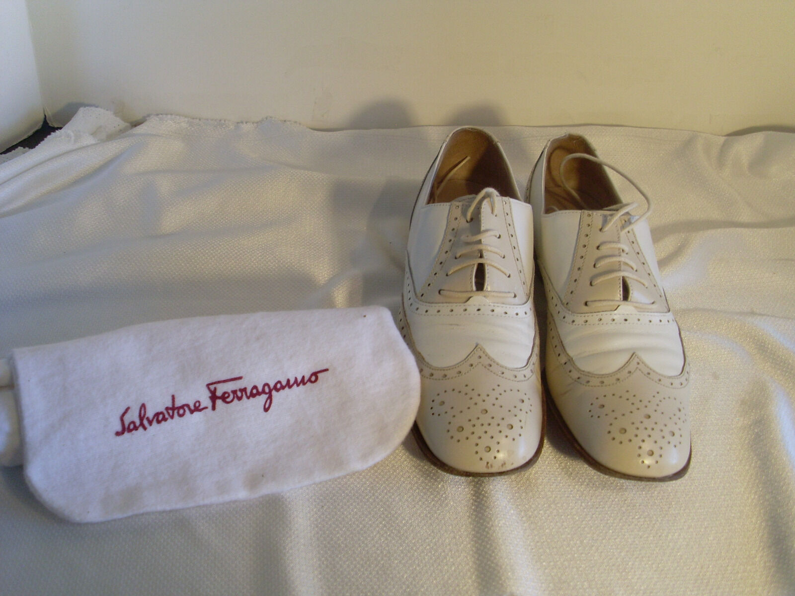 SALVATORE FERRAGAMO OXFORD LACE UP TAN BEIGE SZ 4 4 4 1 2 B W CLOTH BAG 35 59c168