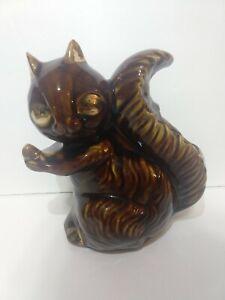 VTG-Ceramic-Squirrel-Planter-50s-60s-MCM-Danish-Modern-Art-Deco-Pottery-Vase