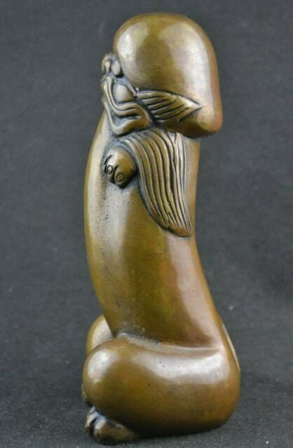 China old handmade bronze Available big strong penis love Buddha statue