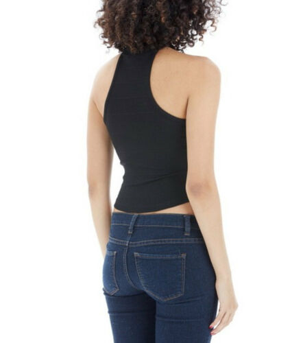 Women Basic Cropped Top High Halter Neck Modern Racerback Shirt RT42531