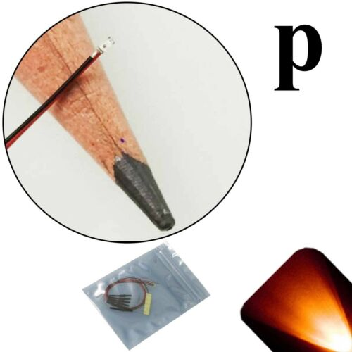10 x 12v 0402 1005 Orange Amber Pico SMD LED Pre-Wired Light Soldered Leads 9v
