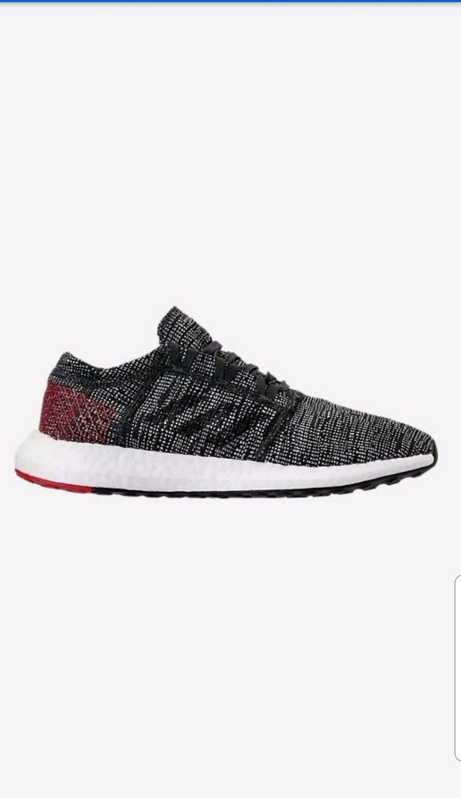 Adidas Mens Size 9.5 Pureboost GO Running shoes Black Scarlet AH 2323