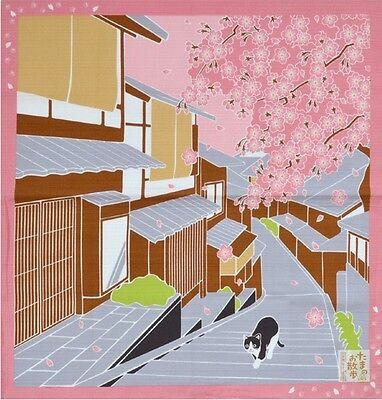Japanese 12 Seasons in Kyoto Tama The Cat Furoshiki Scarf Sakura Cherry Blossom