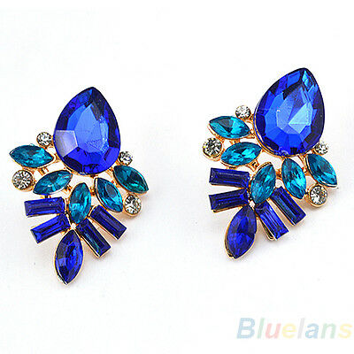 Women's Gold Plated Waterdrop Rhinestone Eardrops Ear Studs Earrings Ideal