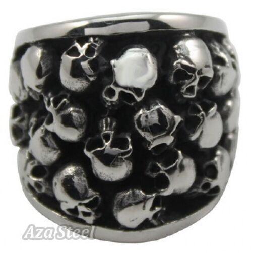 Men's Silver Biker Skulls Horror Stainless Steel Ring US size 10, 11, 12, 13, 14