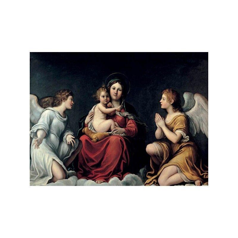 Quadro su Pannello in Legno MDF Francesco con Albani Ma a con Francesco Bambino ed angeli 29f75f