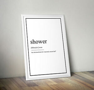 Shower Definition Print Poster Bathroom Decor Wall Art Gift Picture Home Ebay