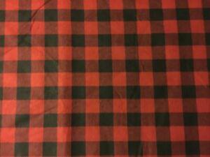 "1 /""Rojo Negro búfalo cheque Granja material de la Tela Franela"
