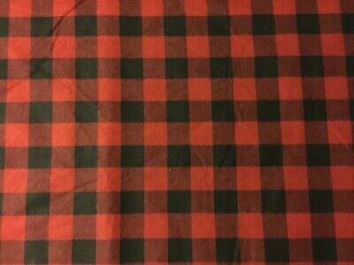 New Black /& Red Buffalo Plaid Flannel Fabric by the 1//2 yard