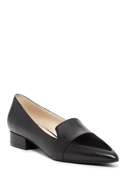 Cole Haan Marlee Skimmer Flats Black Leather Suede Point Toe Sz 9.5B NEW