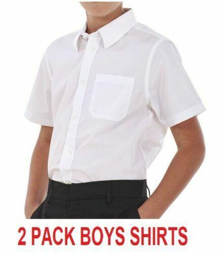 2x UK Ragazzi manica corta Camicia Top Bianco School Uniform Camicie Taglia 3-16 anni