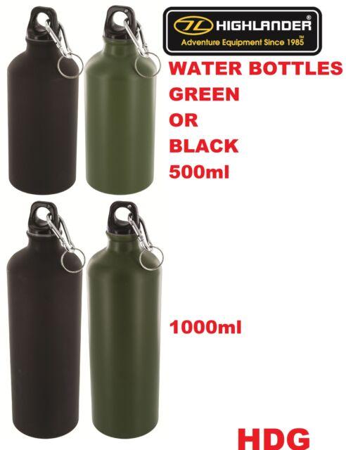 HIGHLANDER Aluminium Lightweight DRINKS WATER BOTTLE Flask+Carabina 500ml / 1Lt