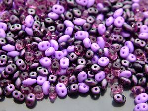 20 G Tchèque Superduo Twin Perles Polychromes Cassis Mix-afficher Le Titre D'origine