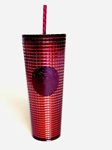 Starbucks Grid Disco Pink 2020 Holiday Winter Cold Cup Tumbler 24oz NEW Venti